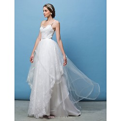 A-line/Princess Wedding Dress - Ivory Sweep/Brush Train Spaghetti Straps Lace/Tulle