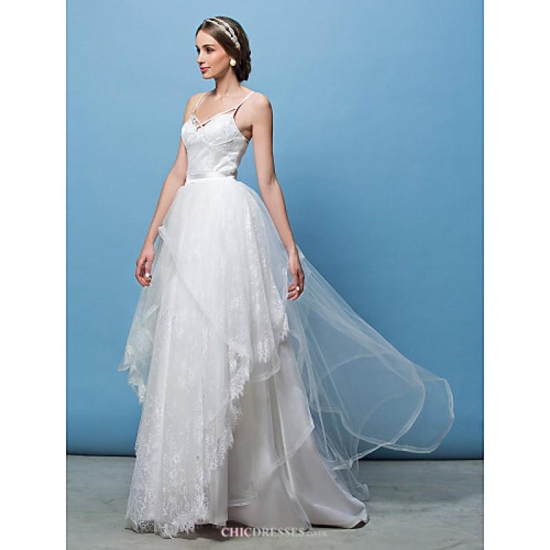 2bfc0f1f05543 A-line Princess Wedding Dress - Ivory Sweep Brush Train Spaghetti Straps  Lace