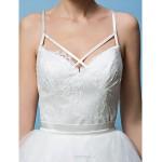 A-line/Princess Wedding Dress - Ivory Sweep/Brush Train Spaghetti Straps Lace/Tulle Wedding Dresses