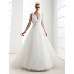 A Line Princess Plus Sizes Wedding Dress Ivory Floor Length V Neck Tulle