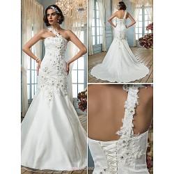 Trumpet Mermaid Plus Sizes Wedding Dress Ivory Court Train One Shoulder Tulle