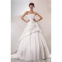 A Line Wedding Dress White Chapel Train Strapless Taffeta