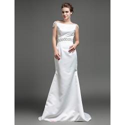 Trumpet/Mermaid Wedding Dress - Ivory Sweep/Brush Train Bateau Satin