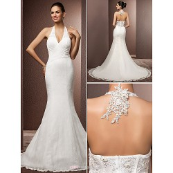 Trumpet/Mermaid Plus Sizes Wedding Dress - Ivory Court Train Halter Lace