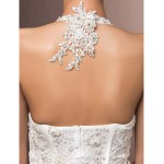 Trumpet/Mermaid Plus Sizes Wedding Dress - Ivory Court Train Halter Lace Wedding Dresses