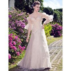 A-line/Princess Plus Sizes Wedding Dress - Champagne Floor-length Off-the-shoulder Organza