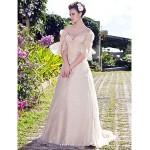 A-line/Princess Plus Sizes Wedding Dress - Champagne Floor-length Off-the-shoulder Organza Wedding Dresses