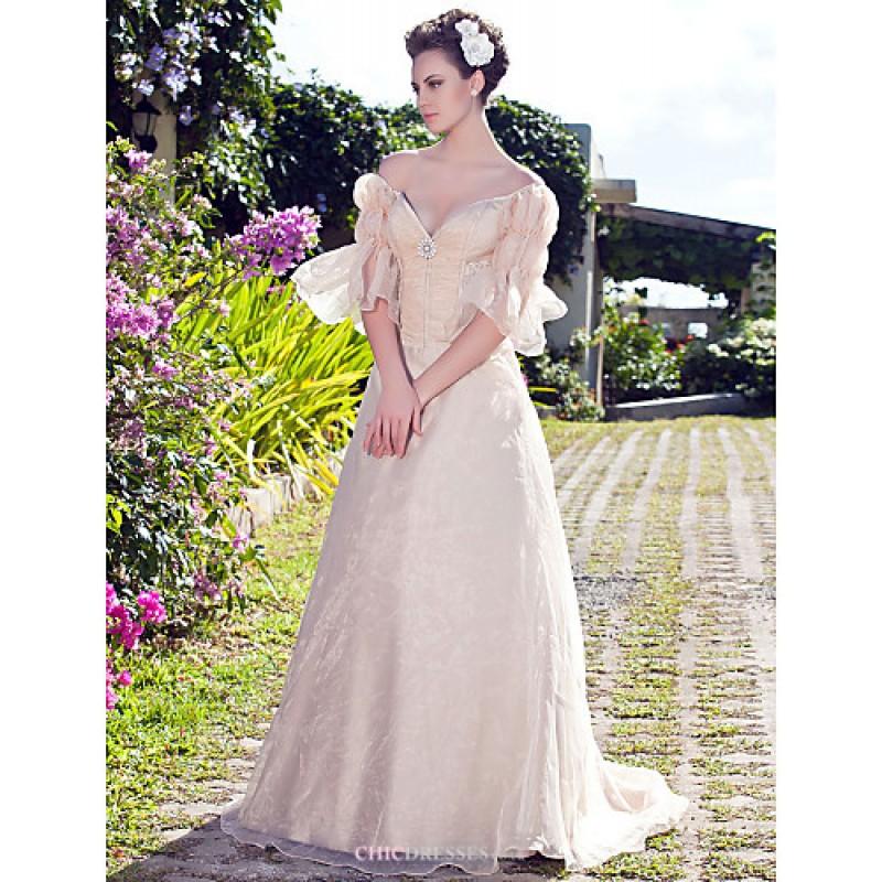 Plus Size Wedding Dresses Champagne: A-line/Princess Plus Sizes Wedding Dress