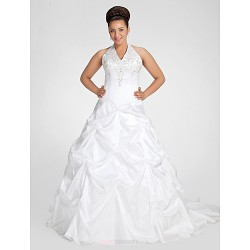 Ball Gown Plus Sizes Wedding Dress - White Chapel Train V-neck Taffeta