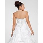 Ball Gown Plus Sizes Wedding Dress - White Chapel Train V-neck Taffeta Wedding Dresses