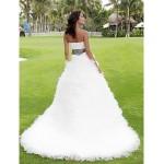 Ball Gown Plus Sizes Wedding Dress - Ivory Chapel Train Strapless Satin/Tulle Wedding Dresses