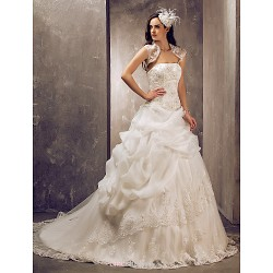 Ball Gown Plus Sizes Wedding Dress - Ivory Sweep/Brush Train Strapless Tulle/Lace