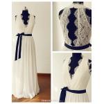 A-line Wedding Dress - Ivory Sweep/Brush Train V-neck Chiffon / Lace Wedding Dresses