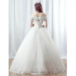 A-line Wedding Dress - White Floor-length Off-the-shoulder Organza Wedding Dresses