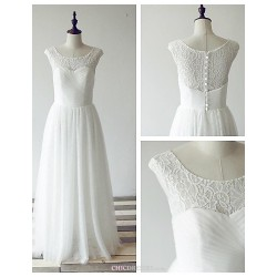 A Line Wedding Dress Ivory Floor Length Scoop Lace Tulle