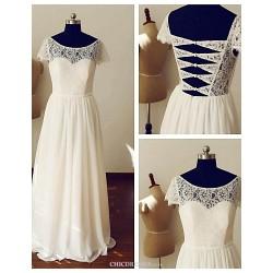 A Line Wedding Dress Ivory Floor Length Scoop Chiffon Lace