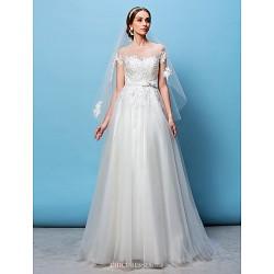 A-line/Princess Wedding Dress - Ivory Sweep/Brush Train Bateau Tulle
