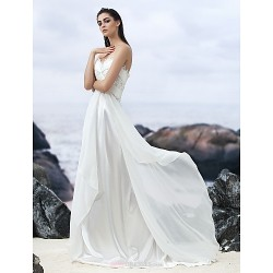 A-line Court Train Wedding Dress - Sweetheart Georgette