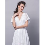 Formal Evening Dress - Ivory Plus Sizes / Petite A-line V-neck Sweep/Brush Train Jersey Wedding Dresses