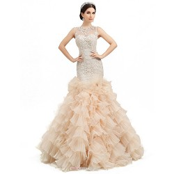 Trumpet Mermaid Floor Length Wedding Dress Jewel Organza