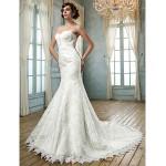 Trumpet/Mermaid Plus Sizes Wedding Dress - Ivory Chapel Train Strapless Lace Wedding Dresses