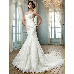 Trumpet Mermaid Plus Sizes Wedding Dress Ivory Chapel Train Strapless Lace