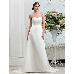 A-line Plus Sizes Wedding Dress - Ivory Sweep/Brush Train Strapless Satin