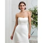 A-line Plus Sizes Wedding Dress - Ivory Sweep/Brush Train Strapless Satin Wedding Dresses