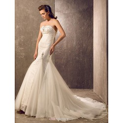 Trumpet/Mermaid Plus Sizes Wedding Dress - Ivory Court Train Sweetheart Tulle/Lace