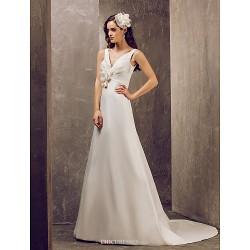 A-line Plus Sizes Wedding Dress - Ivory Sweep/Brush Train V-neck Satin
