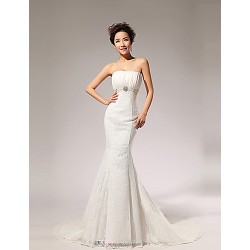 Trumpet/Mermaid Wedding Dress Court Train Strapless Lace