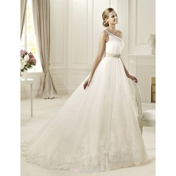 Princess Wedding Dress - White Floor-length One Shoulder Organza/Satin Chiffon