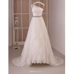Princess Wedding Dress - White Floor-length One Shoulder Organza/Satin Chiffon Wedding Dresses
