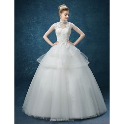 A Line Wedding Dress White Floor Length High Neck Organza