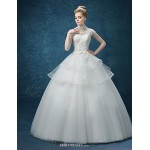 A-line Wedding Dress - White Floor-length High Neck Organza Wedding Dresses