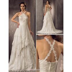 Sheath/Column Plus Sizes Wedding Dress - Ivory Court Train Halter Chiffon/Lace