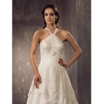 Sheath/Column Plus Sizes Wedding Dress - Ivory Court Train Halter Chiffon/Lace Wedding Dresses