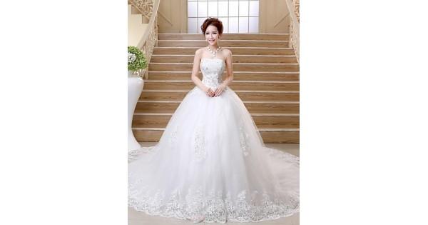 Satin Ball Gown Wedding Dress: Ball Gown Chapel Train Wedding Dress -Strapless Satin