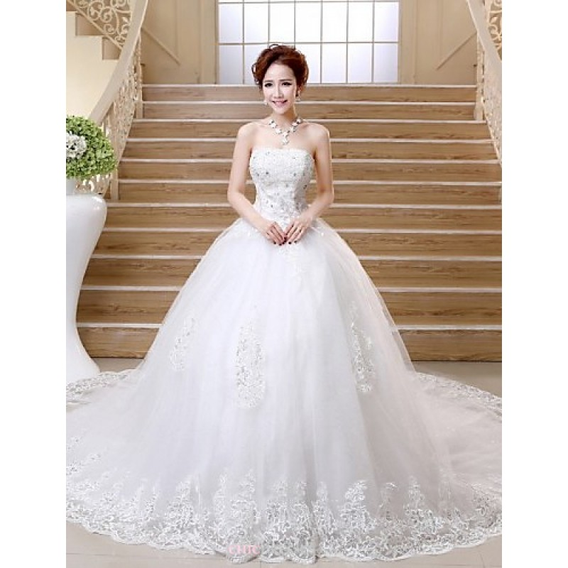 Ball Gown Wedding Dresses Uk: Ball Gown Chapel Train Wedding Dress -Strapless Satin