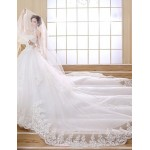 Ball Gown Chapel Train Wedding Dress -Strapless Satin Wedding Dresses