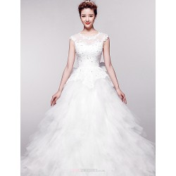 Ball Gown Chapel Train Wedding Dress Jewel Organza