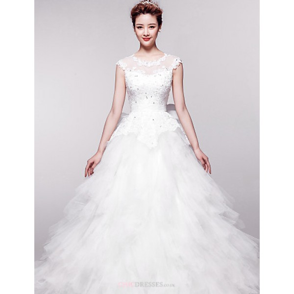 Ball Gown Chapel Train Wedding Dress -Jewel Organza Wedding Dresses