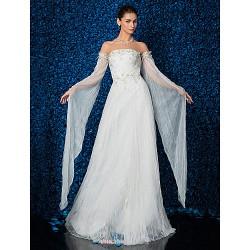Sheath/Column Wedding Dress - Ivory Floor-length Strapless Tulle