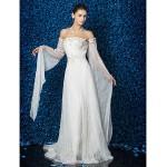 Sheath/Column Wedding Dress - Ivory Floor-length Strapless Tulle Wedding Dresses