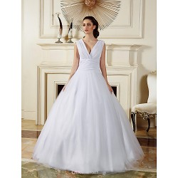 Ball Gown Wedding Dress White Floor Length V Neck Chiffon Tulle
