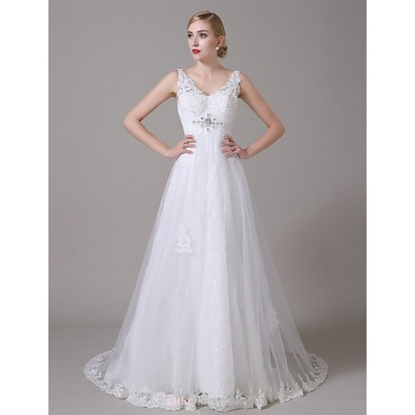 Sheath/Column Wedding Dress - White Sweep/Brush Train V-neck Organza Wedding Dresses
