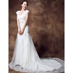 Trumpet Mermaid Chapel Train Wedding Dress Scalloped Edge Organza