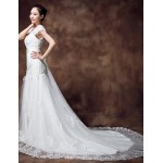 Trumpet/Mermaid Chapel Train Wedding Dress - Scalloped-Edge Organza Wedding Dresses