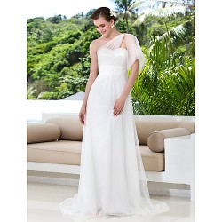 Sheath/Column Plus Sizes Wedding Dress - Ivory Sweep/Brush Train One Shoulder Tulle/Lace
