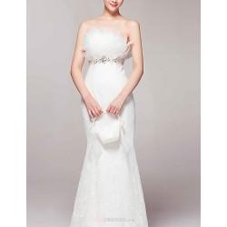 Trumpet Mermaid Sweep Brush Train Wedding Dress Strapless Lace